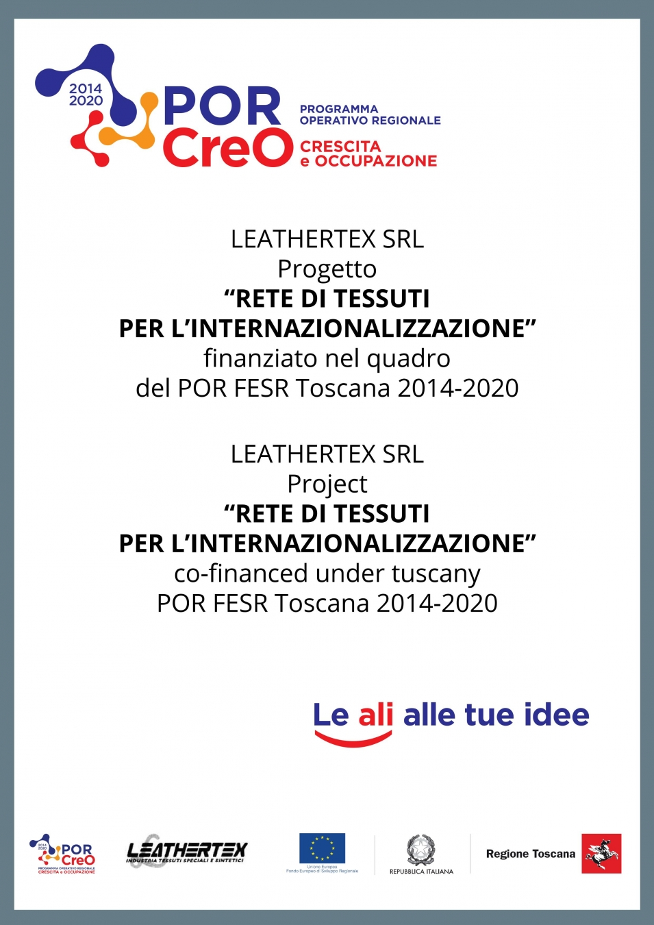 The internationalization project Rete di tessuti per l'internazionalizzazione