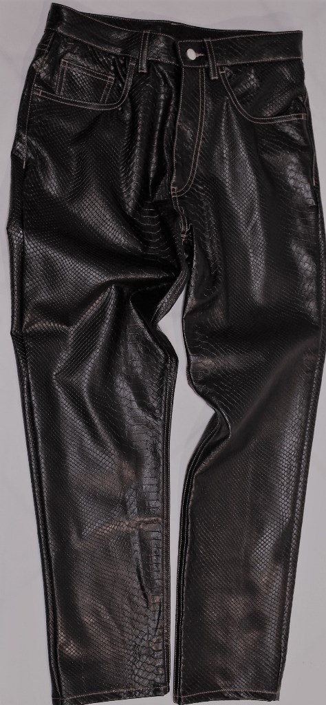 5 Pockets trousers with embossed python effect print